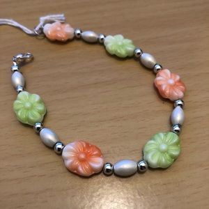 Tangerine and Lime Color Vintage Beaded Bracelet
